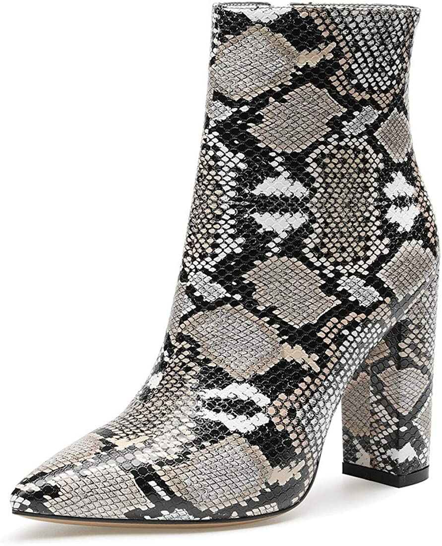 Castamere Womens High Block Heels Animer Seattle Mall and price revision Boots Toe Slip-o Pointed Ankle