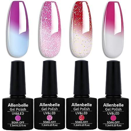 Allenbelle Smalto Semipermanente Camaleonte Nail Polish UV LED Gel Unghie (Kit di 4 pcs 7.3ML/pc) (002)