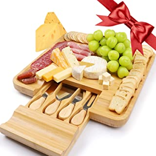 Chulovs Cheese Board Set Bamboo Wood Charcuterie Platter Serving Tray with Cutlery (Wooden)