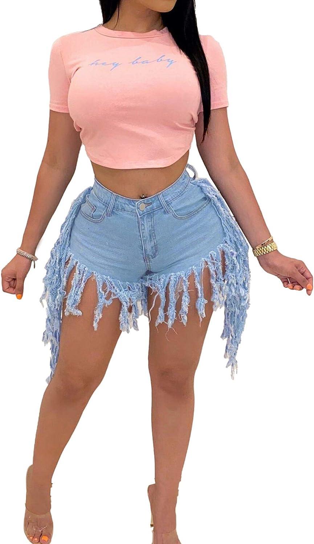 ZHYA Women Ripped Denim Shorts High Waisted Distressed Tassel Hem Shorts Jeans with Pocket Y2k Fashion Shorts