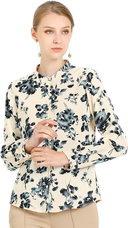 Allegra K Women's Turn Down Collar Shirt Button Up Floral Work Office Tops