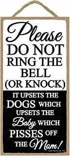 Funny Door Signs, Please Do Not Ring The Bell or Knock - 5 x 10 inch Hanging, Wall Art, Do Not Knock Sign