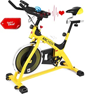 ANCHEER Stationary Bike, 40 lbs Flywheel Indoor Cycling Exercise Bike with Heart Rate, Quiet Smooth Belt Drive System, Adjustable Seat & Handlebars & Base