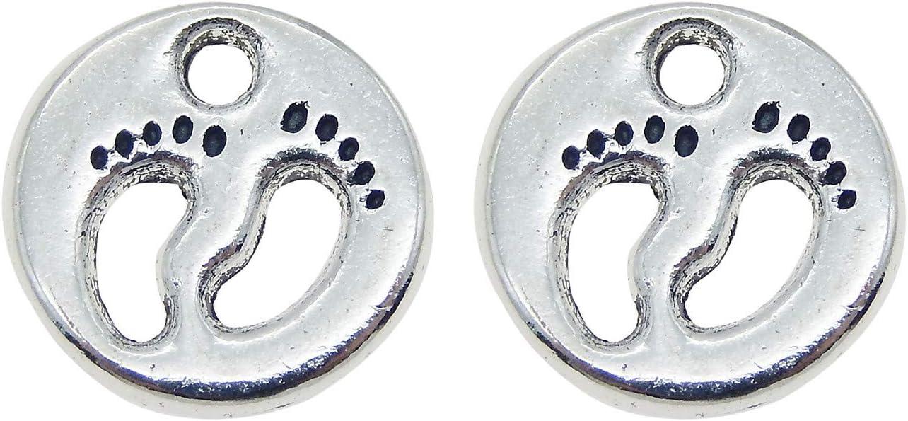 JulieWang 50PCS National uniform free shipping Antiqued Silver Baby f Max 76% OFF Footprint Charms Pendants