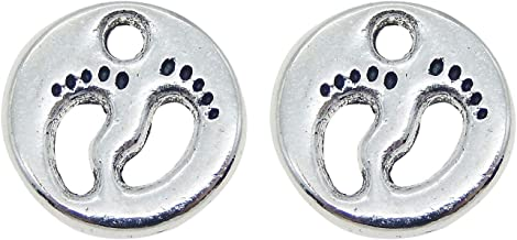 JulieWang 50PCS Antiqued Silver Baby Footprint Charms Pendants for Jewelry Making DIY 11x11MM