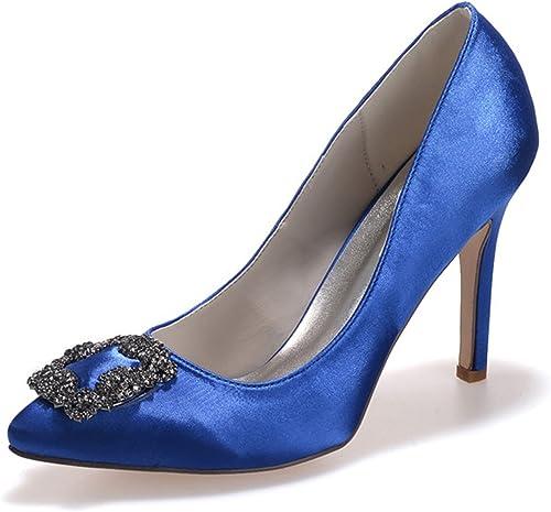 Elobaby SatéN De La Boda De Las mujeres del Resorte Peep Toe Crystal para Kitten Heel Low Party & Evening Dress