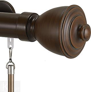Infinette Tekno 40 Melrose 1.5 Inch Diameter Single Traverse Window Curtain Rod Set, 132 Inch, Sienna