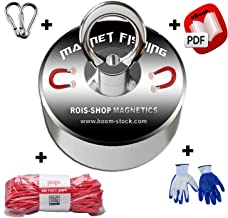 Super Powerful Magnet Fishing with Diameter 2.36' and Maximum Pulling Force of 380lbs Including 100 feet Rope and Protection Gloves