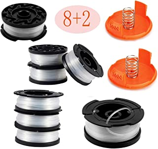 Karen AF-100-3ZP Weed Eater Spools, for Black+Decker Line String Trimmers Replacement Spool, Pack of (8 Circles+ 2 Caps)
