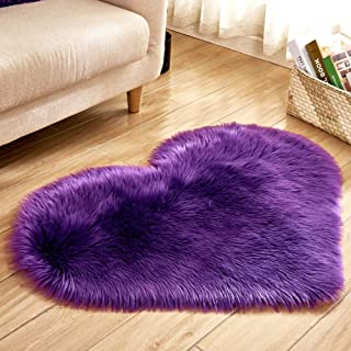 DishyKooker 40X50CM Love Heart Shaped Rug Artificial Wool Sheepskin Hairy Carpet Faux Floor Mat Fluffy Soft Area Rug Tapetes Purple