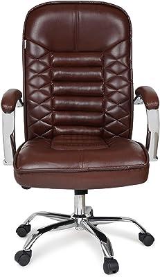 Ettorez High Back Executive Office Swivel Chair with PVC Coated Bonded Leather Ergonomic Design Build-in Spine Lumber Support Adjustable Tilt Function, Thick Padding Headrest & Armrest (Medium, Brown)