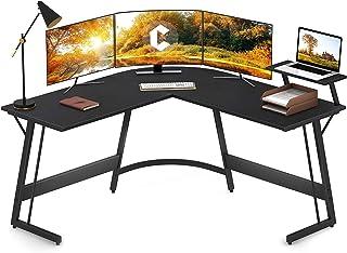 Cubiker Modern L-Shaped Desk Computer Corner Desk, PC Laptop Writing Study Desk for Home Office Wood & Metal