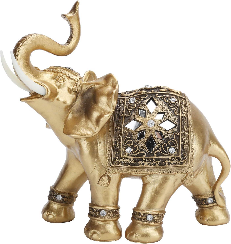 Cyrank Elephant Statues Purchase discount Figurines Good Luck Pol Elephants Golden