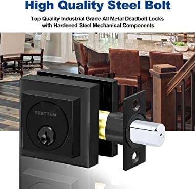 BESTTEN Black Square Deadbolt with Removable Latch Plate, Heavy Duty Single Cylinder Dead Bolt for Commercial and Residential