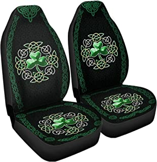 VTH Global Irish Celtic Shamrock Clover Car Seat Covers Set of 2 Universal Fit Accessories Birthday Ireland Trinity Knot Gifts for Dad Mom Husband Wife Son Daughter Men Women