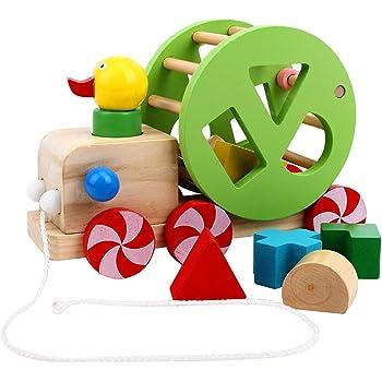 FlyCreat 木のおもちゃ 誕生日 プレゼント クリスマス 積み木 木製 アヒル 引っ張る車 プルトーイ 木製パズル 形合わせ 型はめパズル おもちゃ 木製玩具 木製おもちゃ 立体パズル 引っ張るおもちゃ 指先 知育玩具 カラフル ブロック 赤ちゃんおもちゃ ベビー キッズ 男の子 女の子 子供 孫 幼児 小学生 学研 知恵 ゲーム 子ども キッズ オモチャ 誕生日 クリスマス ギフト 出産祝い 入園祝い 幼稚園 教具 早期開発 幾何認知 色認知 図形認知 1歳 2歳 3歳 (アヒル 引っ張る車)