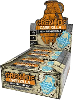 Grenade Carb Killa Protein Chocolate Bar | 22g High Protein Snack | Keto Friendly Low Net Carb Low Sugar | Gluten Free Nut Free Energy Bars | White Chocolate Cookie, 12 Pack