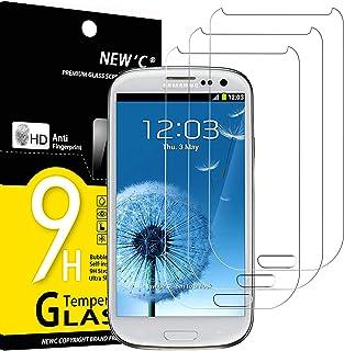 NEW'C 3-pack skärmskydd med Samsung Galaxy S3 – Härdat glas HD klar 9H hårdhet bubbelfritt