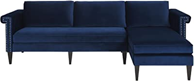 "Jennifer Taylor Home Nathaniel Reversible Sectional Sofa, 115""W x 66""D x 36 1/2""H, Navy Blue"