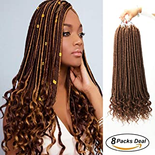 8Pcs/Lot Gypsy Goddess Locs Crochet Hair Wavy Faux Locs with Curly Ends 100% Quality Kanekalon Fiber Synthetic Braiding Hair Extension (8Packs/Lot,20