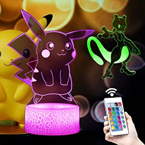 3D Anime Night Light-LED Illusion Lamp Two Patterns and 16 Color Change Decor Table Lamp with Remote Control, Christmas Birthday Gifts for Boys Girls Kids Room Decor