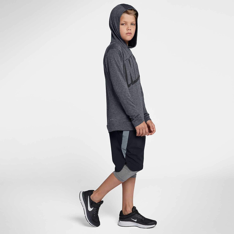 NIKE Boys' Breathe Graphic Hoodie,(Black/Cool Grey,Medium)