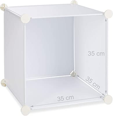 Relaxdays Étagère cubes rangement penderie armoire 18 compartiments plastique chaussures modulable, Blanc, 36.5 x 145 x 198 cm