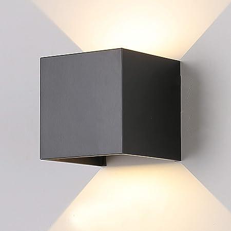 12W Led Applique murale chambre Moderne Exterieur/Interieur, Aluminium luminaires Réglable Lampe Up and Down Design Anti-Eau Blanc Chaud pour Chambre Maison Couloir Salon (Noir)
