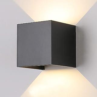 Tvfly - Lámpara de pared para interior y exterior, moderna, en diseño de ángulo de haz ajustable, lámpara exterior de pared IP65, LED, 3000 K, luz blanca cálida (negro 7 W), de aluminio