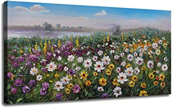 Canvas Wall Art Flowers Landscape Painting Prints One Panel Large Size, Modern Nature Daisy Wild Flowers Picture Artwork Framed Ready to Hang for Bedroom Living Room Bathroom Home Office Décor 40