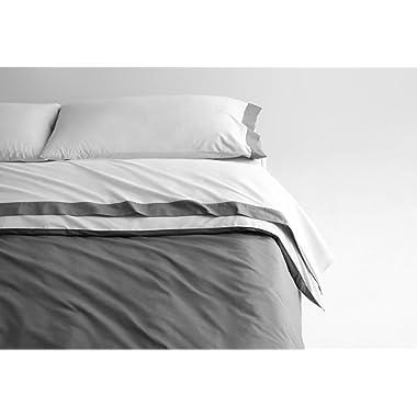Casper Sleep Soft and Durable Supima Cotton Sheet Set, Queen, White/Slate