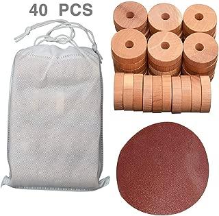 DAYSLIVES 40 Pack Cedar Wood Rings 100% Natural Cedar Hangers Blocks for Clothes Storage Closets Drawers(Diameter 4cm)