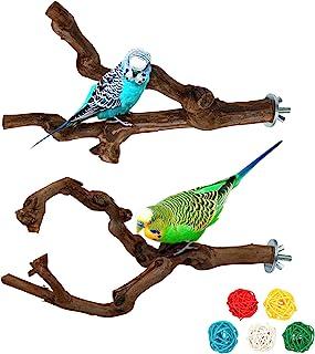 Lot de 2 perchoirs en bois naturel pour oiseaux, perchoirs en bois de raisin sauvage pour cage à oiseaux, grimper debout, ...