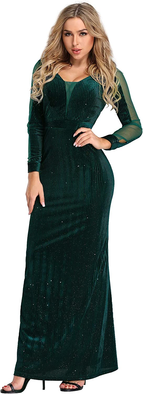 EverPretty Women Cold Shoulder V Neck Long Formal Evening Dress Glitter 07395