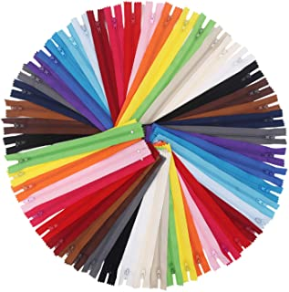 EuTengHao 100Pcs Nylon Coil Zippers 9 Inch Colorful Nylon Zipper for Sewing Bulk Sweing Zipper Supplies with Zipper Presse...