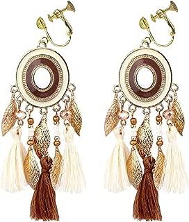 Gold Plated Leaf Clip on Earrings White Silk Fringe Thread Tassel Round Dangle for Girls Women Prom