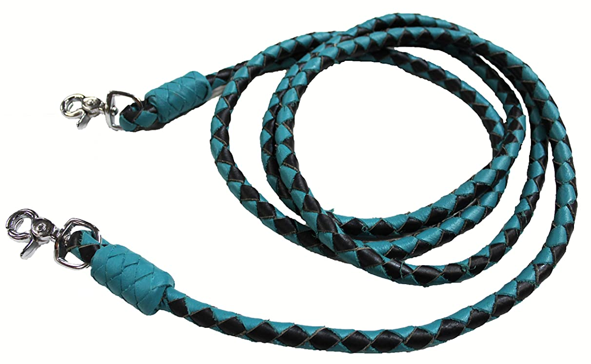 Horse Horse Western Turquoise Leather Round Braided Roper Reins 6652TR