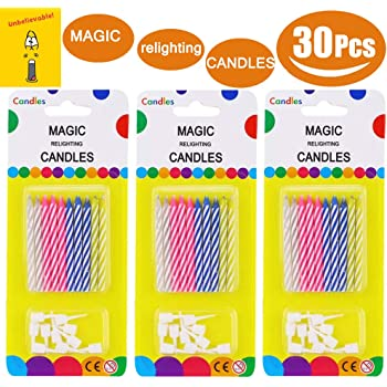 TradeMart Inc Assorted Colors 8065.99 Magic Re-Lite Birthday Candles Party Supply 120 Ct