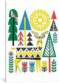 "iCanvasART WAC3900 Folk Lodge (Deer I) Gallery Wrapped Canvas Art Print by Michael Mullan, 26"" x 1.5"" x 18"""