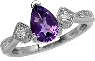 3.4 Gm Faceted Natural Amethyst Ring Gemstone Sterling Silver Ring Size 8 Amethyst Vintage Jewelry Ring S02268