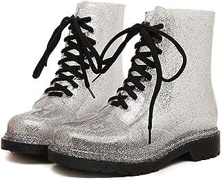 LINGZE Mode de Chaussons Mignons légers, Chaussures de Pluie de Travail avec Lacets, Bottes d'eau de Confort pour l'activi...