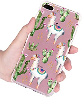 FeelingJoy Compatible iPhone 7 Plus/iPhone 8 Plus Case, TPU Floral Cactus Unicorn Alpaca Pattern Print Cover Design Protective Shockproof Bumper Phone Case for Girls Women