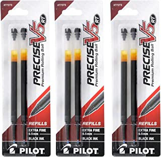 Pilot Precise V5 RT Liquid Ink Retractable Rollerball Pen Refills, 0.5mm, Extra Fine Point, Black Ink, Pack of 3 - (6 count)