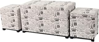 Adeco 3 Pieces Fabric Script Pattern Rectangular Ottoman Storage Bench Foot Rest and Seat, Neutral Beige Color