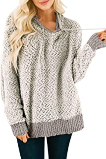 Women's Long Sleeve Solid Color V Neck Loose Oversized Fuzzy Knitted Popcorn Hoodie Sweater Tops