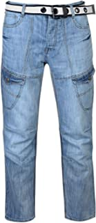 No Fear Jeans Denim Belted Cargo Mens Trouser Pants