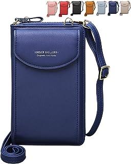 Crossbody Tasche Handytasche Brieftasche Damen Umhängetasche Geldbörse mit Credit Card Slots für Frauen (Blau)