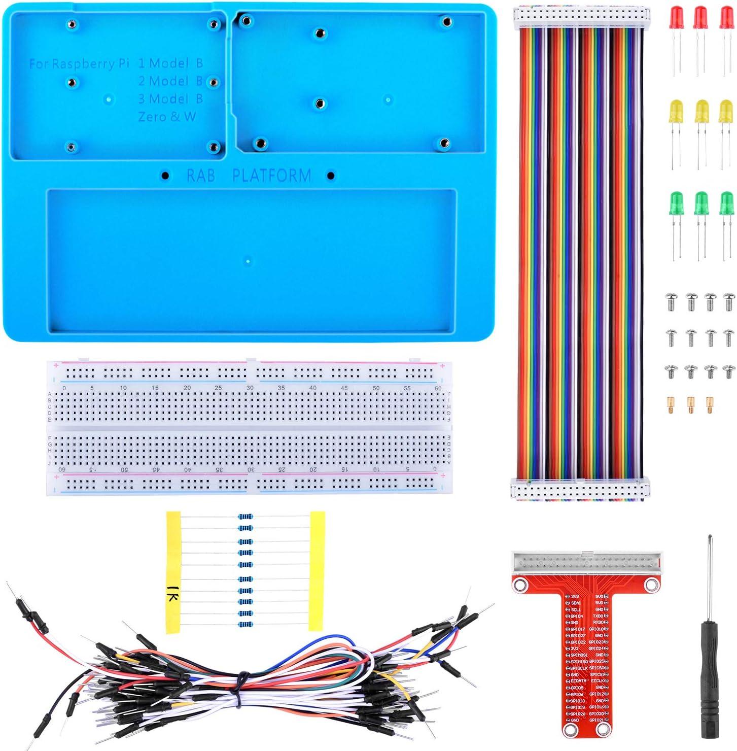 kuman Raspberry Pi 4 B Holder Breadboard Kit, 7 in 1 RAB Holder kit Compatible for Arduino, Mega 2560 & Raspberry Pi 3 Model B, 2 Model B,1 Model B+ RPI Zero and Zero W
