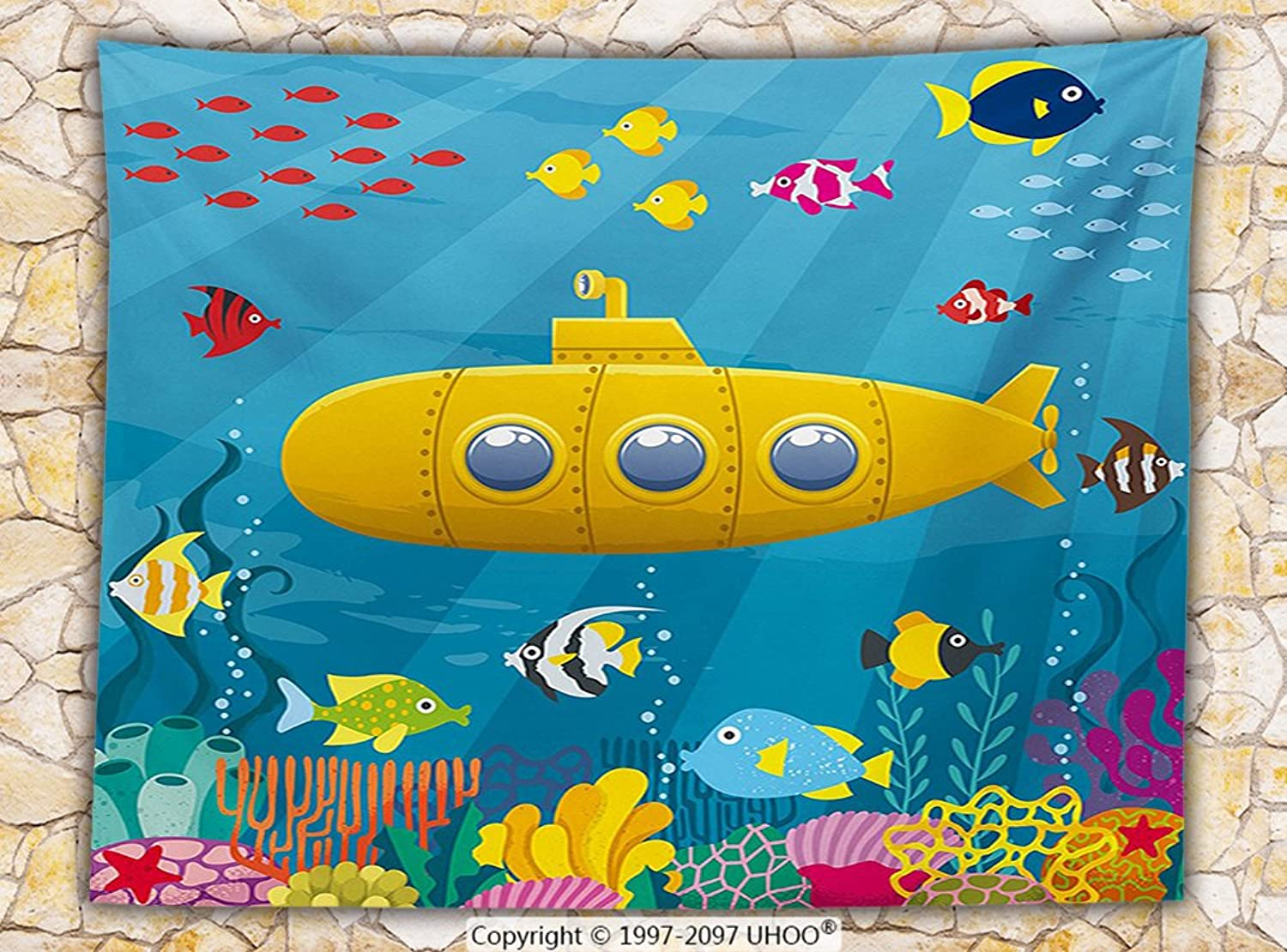 Yellow Submarine Fleece Throw Blanket Coral Reef with colorful Fish Ocean Life Marine Creatures Tropical Kids Throw