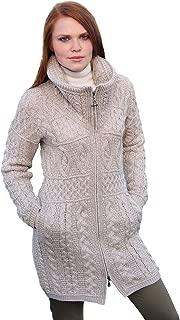 100% Irish Merino Wool Double Collar Aran Knit Coat by West End Knitwear